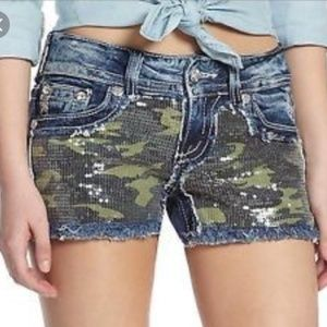 Miss Me Sequin Camo Cut off Bling Jean Shorts 25